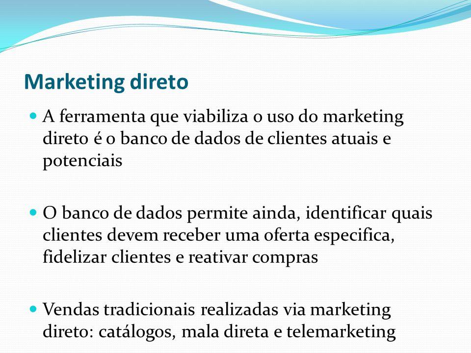 Marketing direto A ferramenta que viabiliza o uso do marketing direto é o banco de dados de clientes atuais e potenciais.