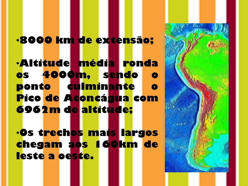 8000 km de extensão; Altitude média ronda os 4000m, sendo o ponto culminante o Pico de Aconcágua com 6962m de altitude;
