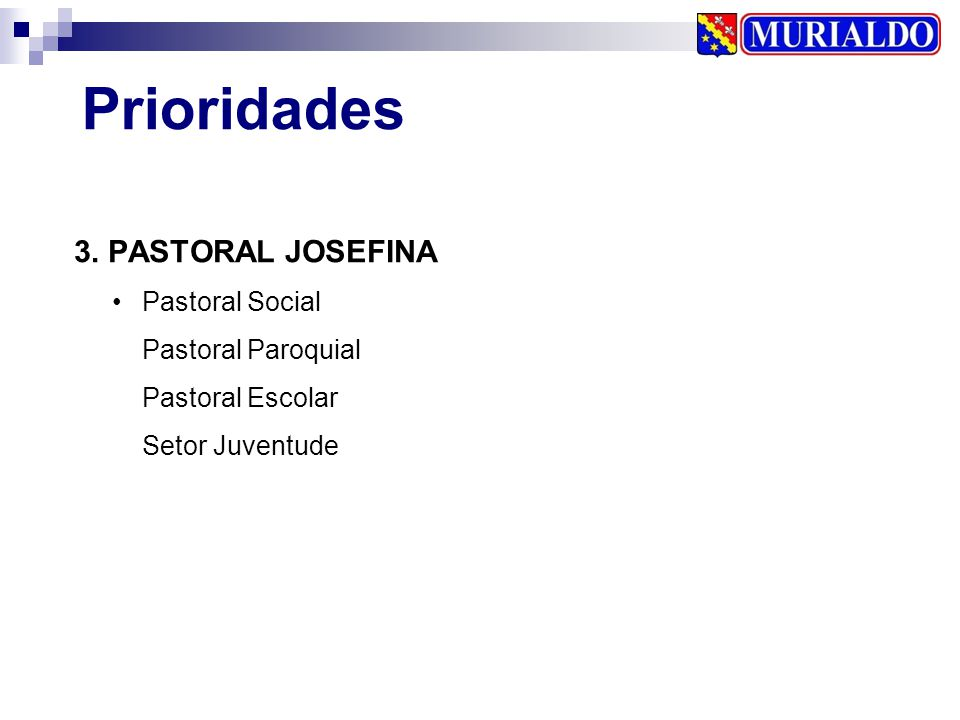 Prioridades 3. PASTORAL JOSEFINA