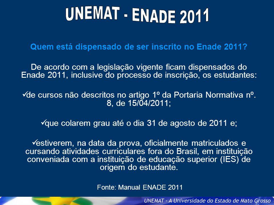 Quem está dispensado de ser inscrito no Enade 2011
