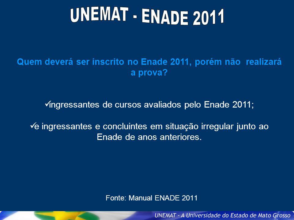 Quem deverá ser inscrito no Enade 2011, porém não realizará a prova