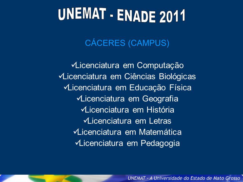 UNEMAT - ENADE 2011 CÁCERES (CAMPUS) Licenciatura em Computação