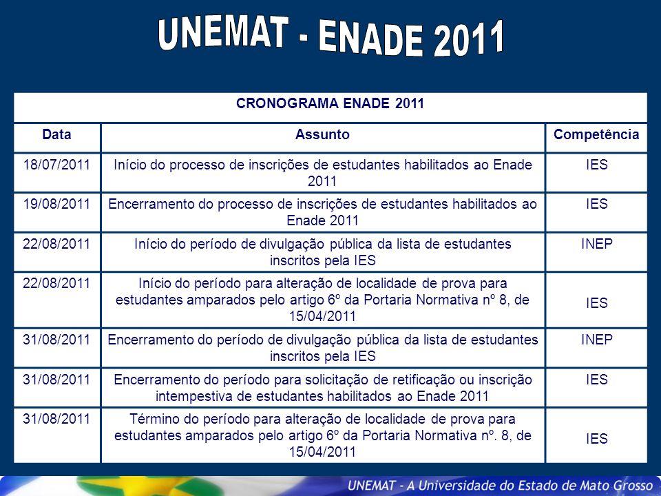 UNEMAT - ENADE 2011 CRONOGRAMA ENADE 2011 Data Assunto Competência