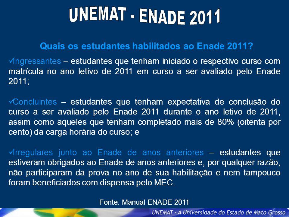 Quais os estudantes habilitados ao Enade 2011