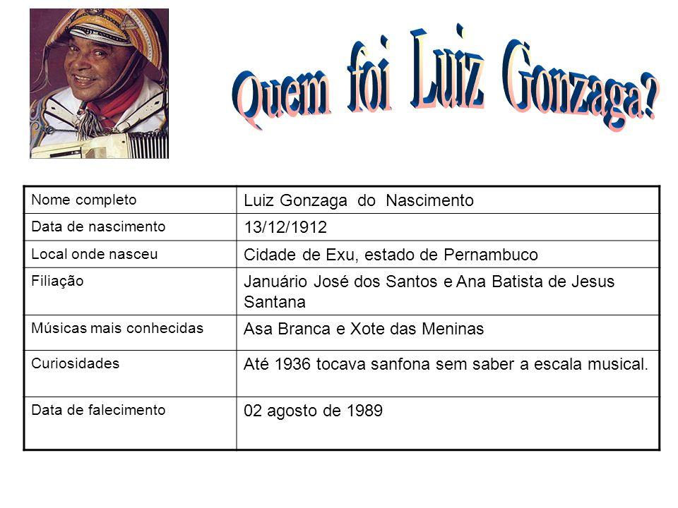 Quem foi Luiz Gonzaga FOTO Luiz Gonzaga do Nascimento 13/12/1912