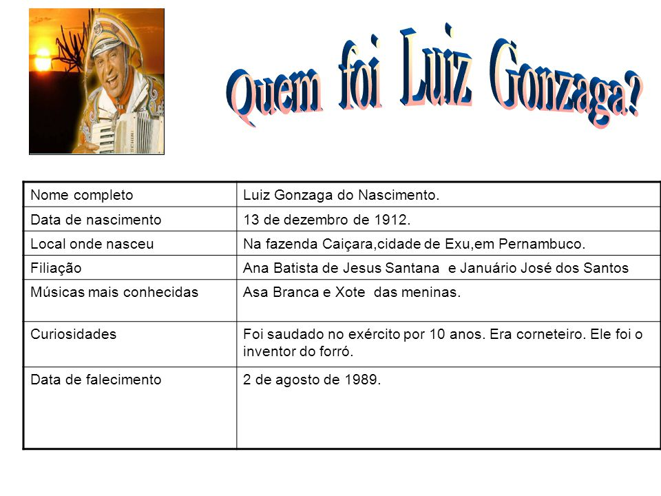 Quem foi Luiz Gonzaga FOTO Nome completo Luiz Gonzaga do Nascimento.