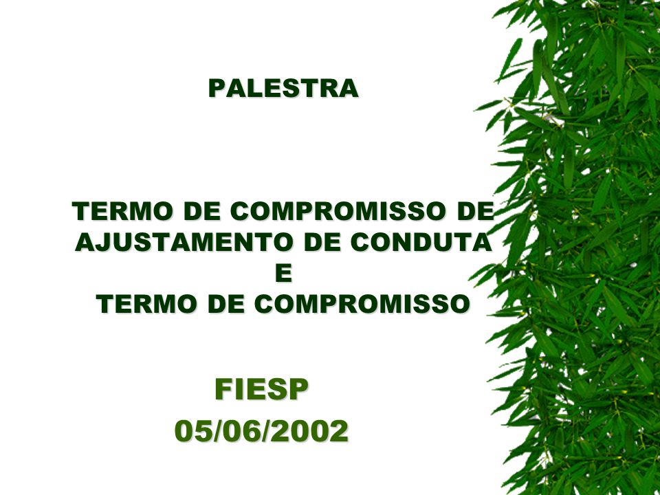PALESTRA TERMO DE COMPROMISSO DE AJUSTAMENTO DE CONDUTA E TERMO DE COMPROMISSO