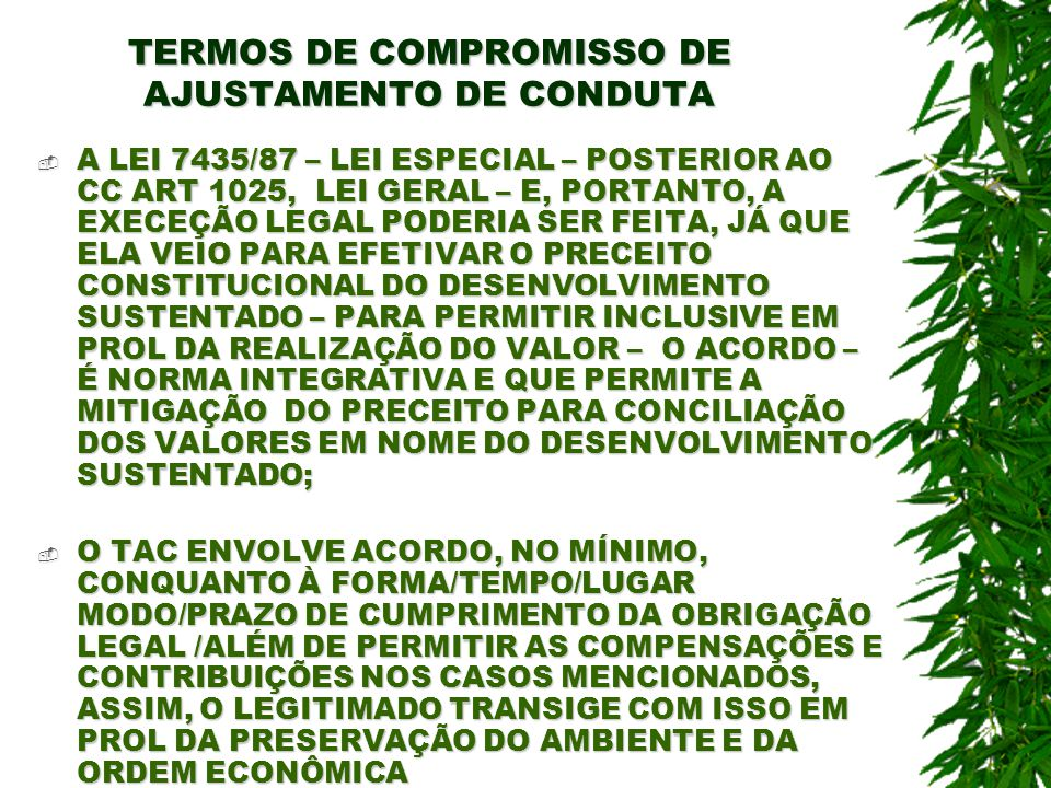 TERMOS DE COMPROMISSO DE AJUSTAMENTO DE CONDUTA