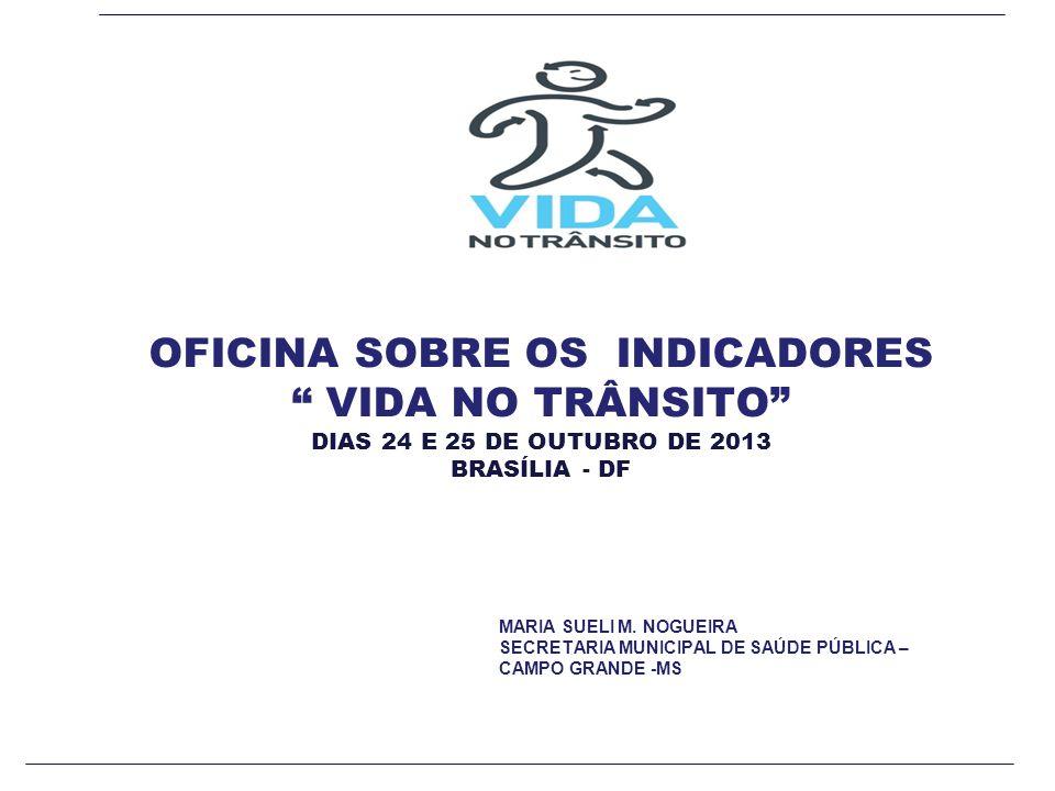 OFICINA SOBRE OS INDICADORES VIDA NO TRÂNSITO DIAS 24 E 25 DE OUTUBRO DE 2013 BRASÍLIA - DF