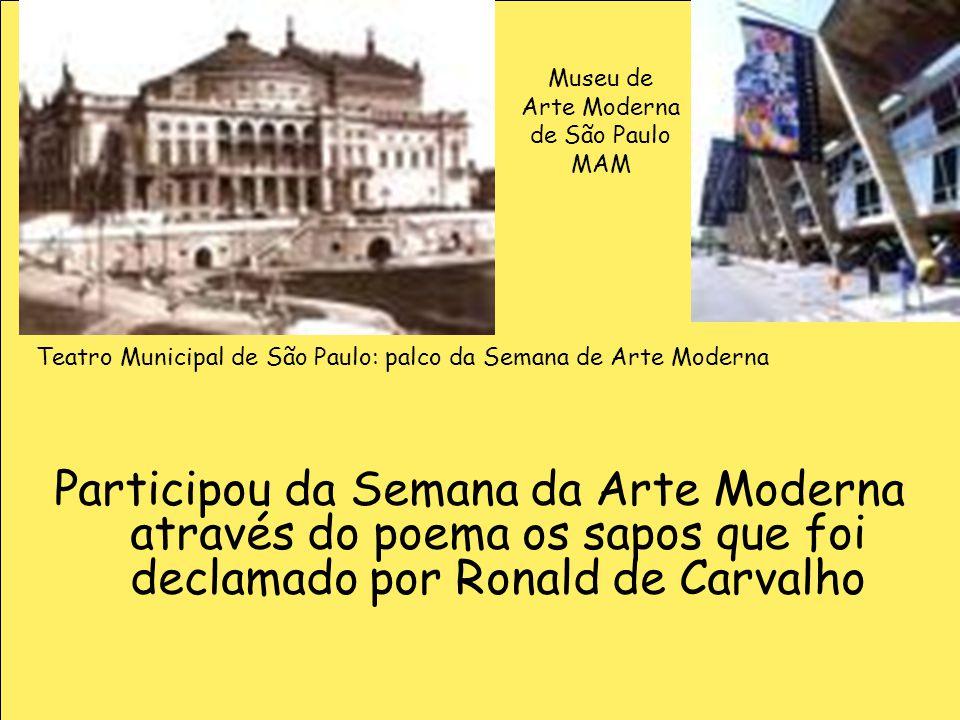 Museu de Arte Moderna. de São Paulo. MAM. Teatro Municipal de São Paulo: palco da Semana de Arte Moderna.