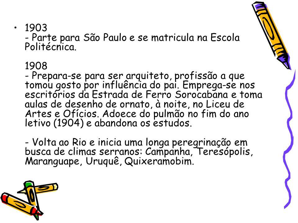 1903 - Parte para São Paulo e se matricula na Escola Politécnica