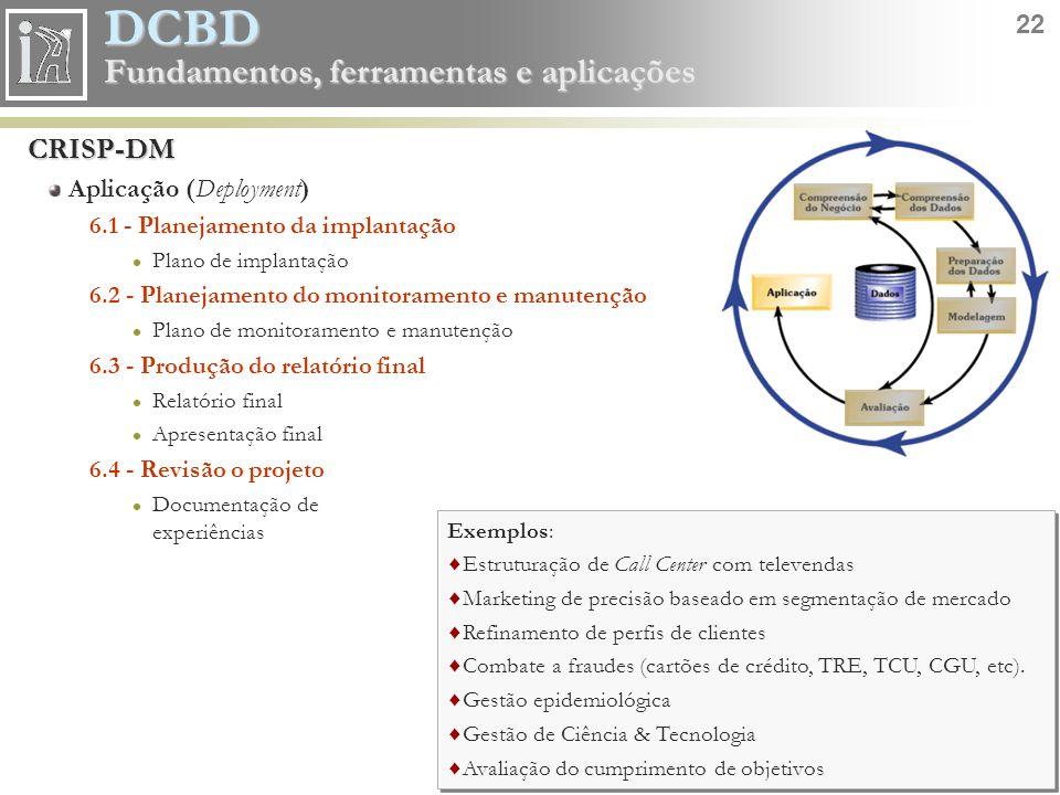 CRISP-DM Aplicação (Deployment) 6.1 - Planejamento da implantação