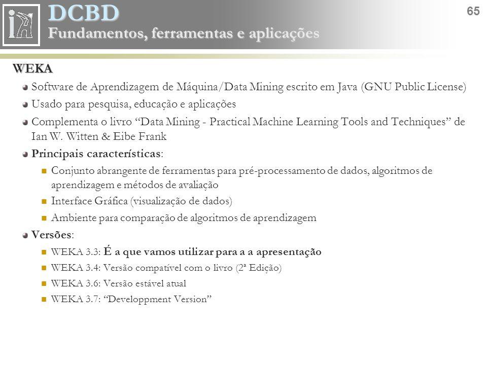 WEKA Software de Aprendizagem de Máquina/Data Mining escrito em Java (GNU Public License) Usado para pesquisa, educação e aplicações.