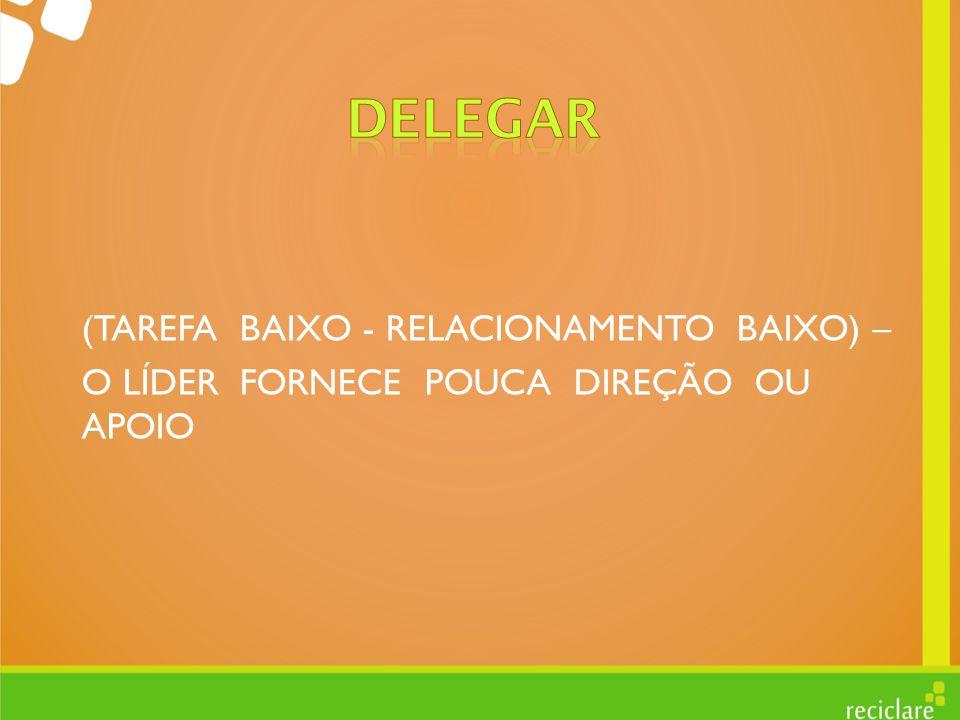 DELEGAR (TAREFA BAIXO - RELACIONAMENTO BAIXO) –