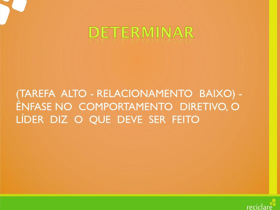 DETERMINAR (TAREFA ALTO - RELACIONAMENTO BAIXO) - ÊNFASE NO COMPORTAMENTO DIRETIVO, O LÍDER DIZ O QUE DEVE SER FEITO.