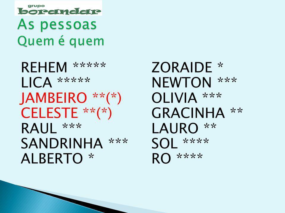As pessoas Quem é quem REHEM ***** LICA ***** JAMBEIRO **(*)