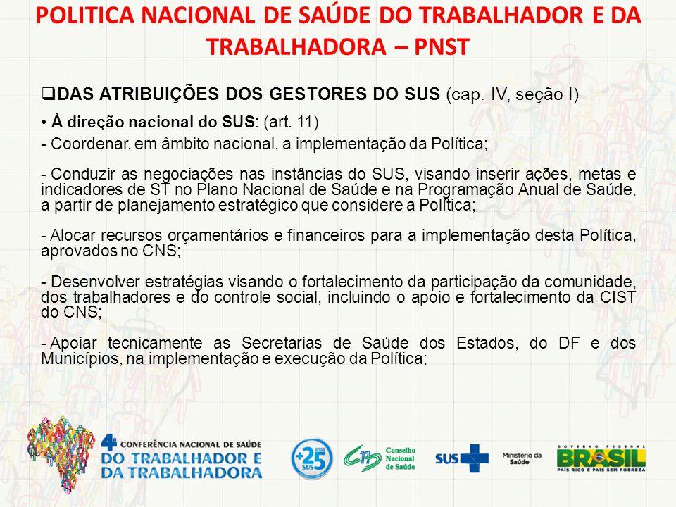 POLITICA NACIONAL DE SAÚDE DO TRABALHADOR E DA TRABALHADORA – PNST