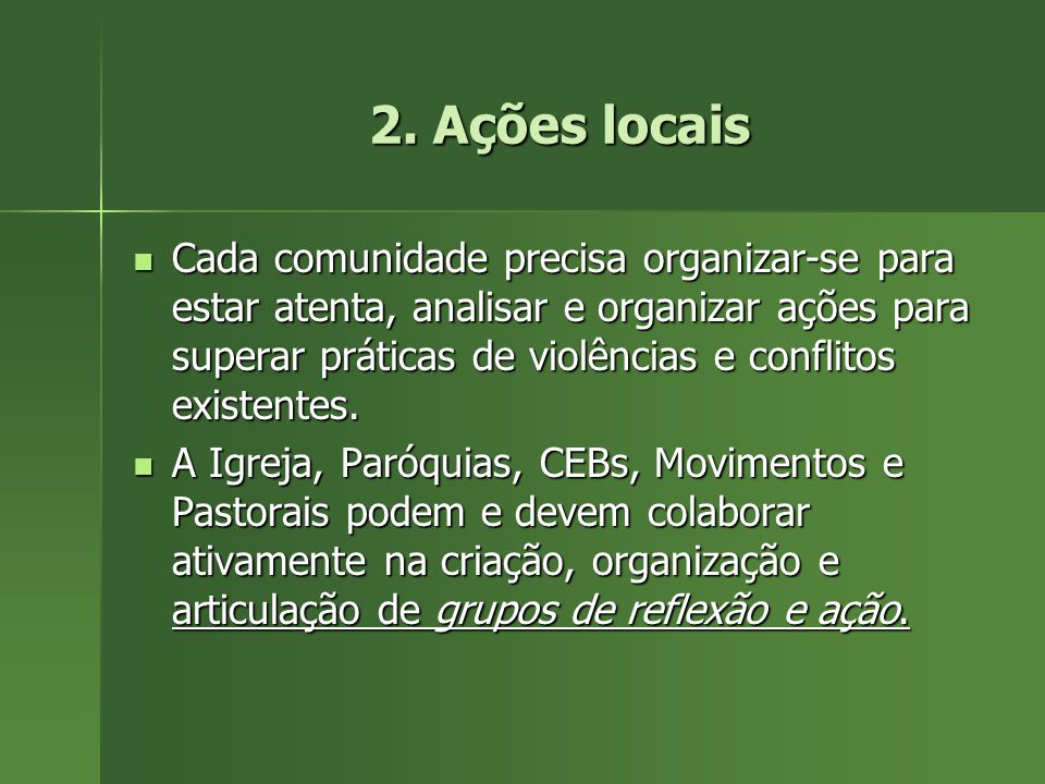 2. Ações locais