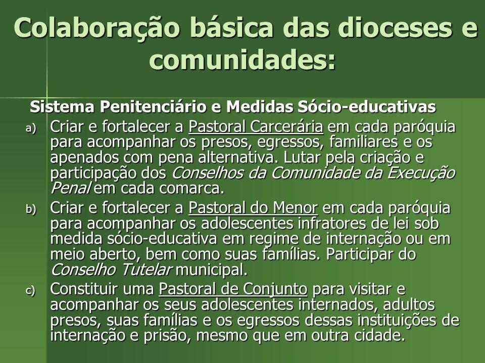 Colaboração básica das dioceses e comunidades: