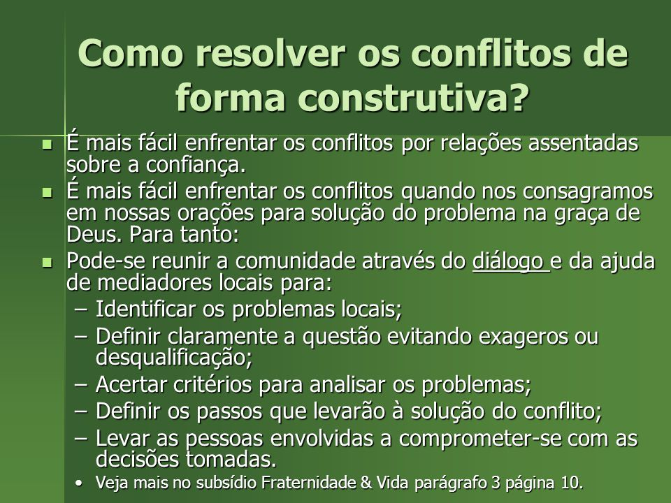 Como resolver os conflitos de forma construtiva