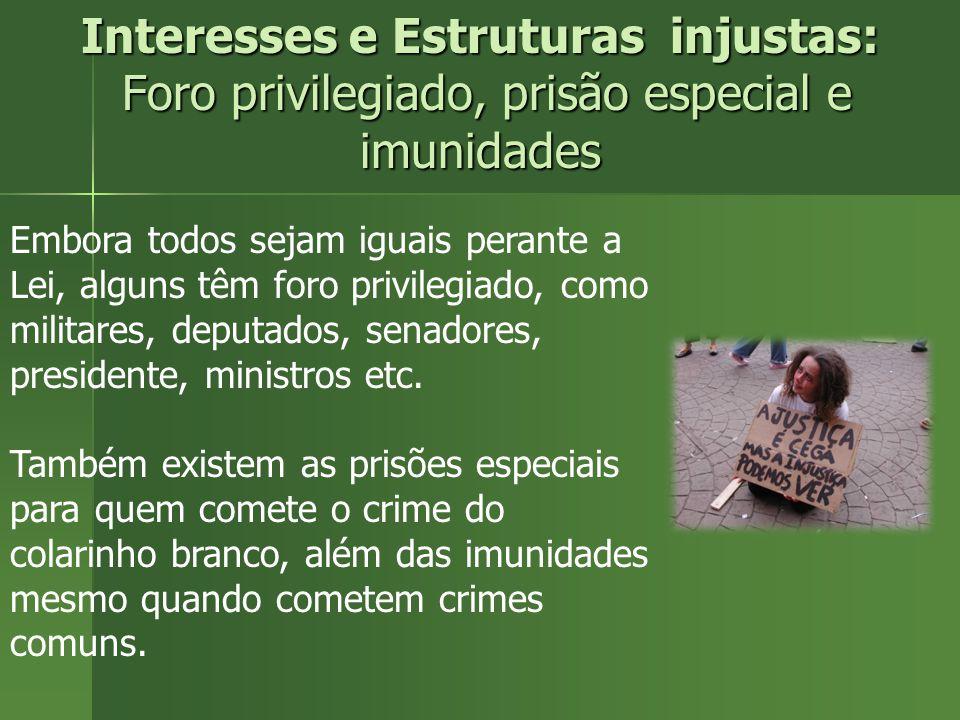 Interesses e Estruturas injustas: Foro privilegiado, prisão especial e imunidades