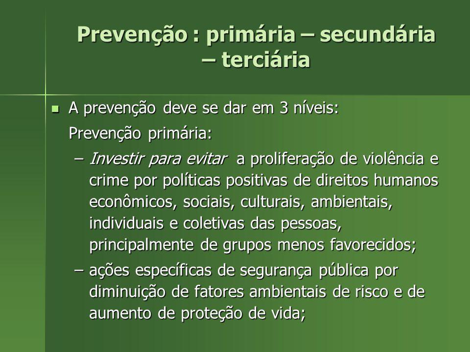 Prevenção : primária – secundária – terciária