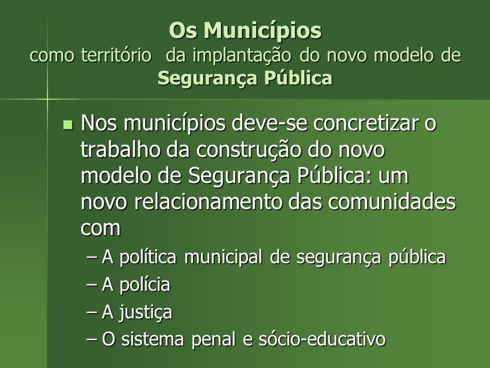 Os Municípios como território da implantação do novo modelo de Segurança Pública