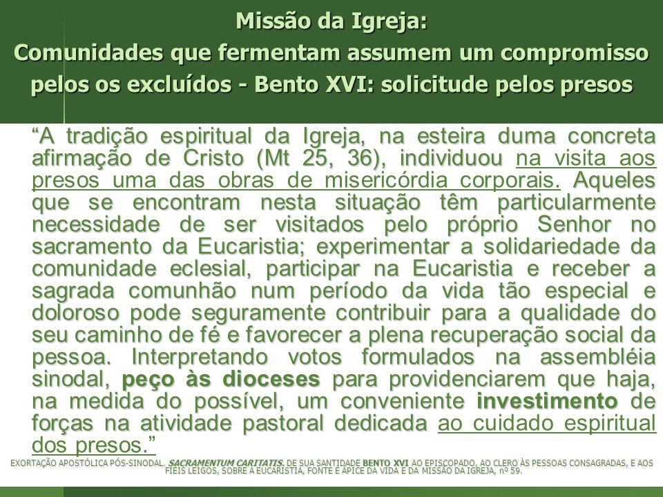 Missão da Igreja: Comunidades que fermentam assumem um compromisso pelos os excluídos - Bento XVI: solicitude pelos presos