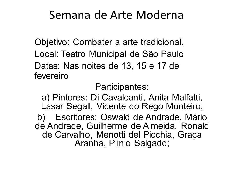 Semana de Arte Moderna Objetivo: Combater a arte tradicional.