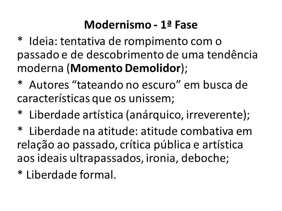 Modernismo - 1ª Fase * Ideia: tentativa de rompimento com o passado e de descobrimento de uma tendência moderna (Momento Demolidor);