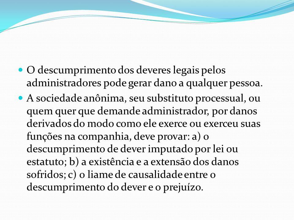 O descumprimento dos deveres legais pelos administradores pode gerar dano a qualquer pessoa.