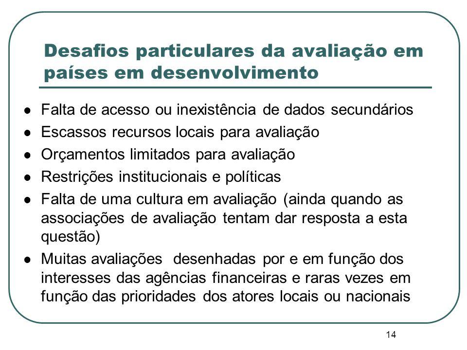 Desafios particulares da avaliação em países em desenvolvimento