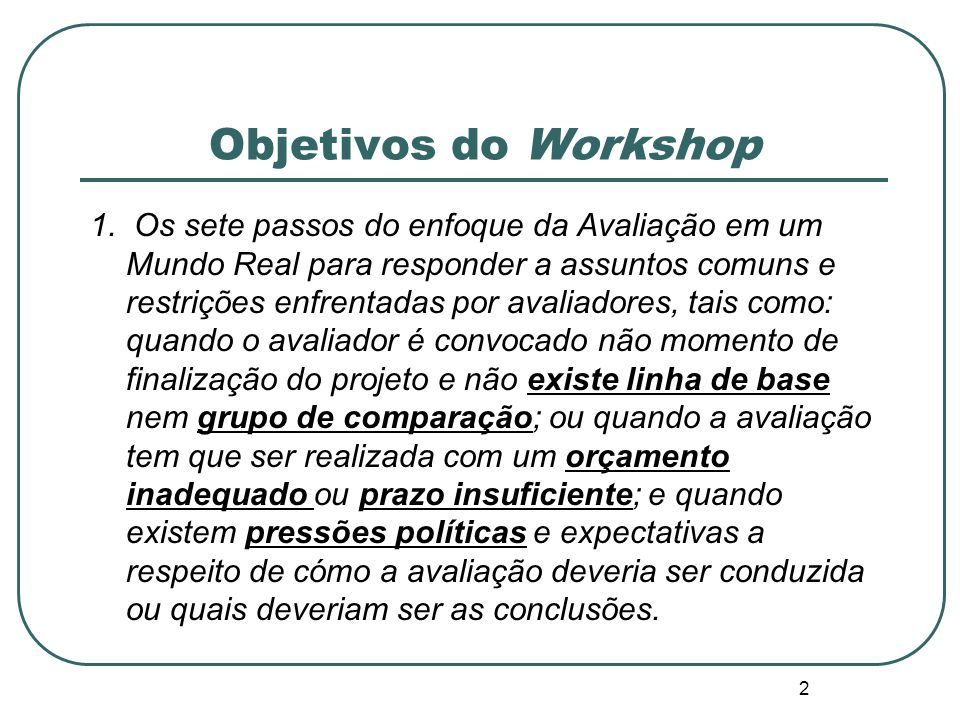 Objetivos do Workshop