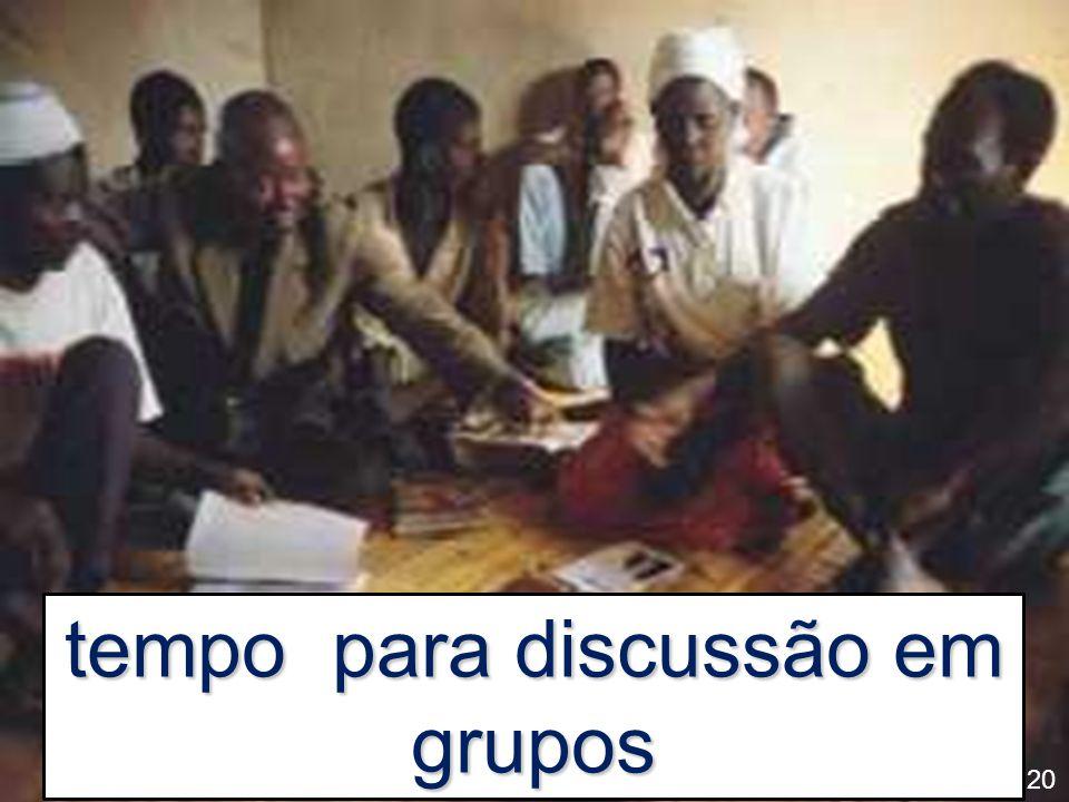 tempo para discussão em grupos