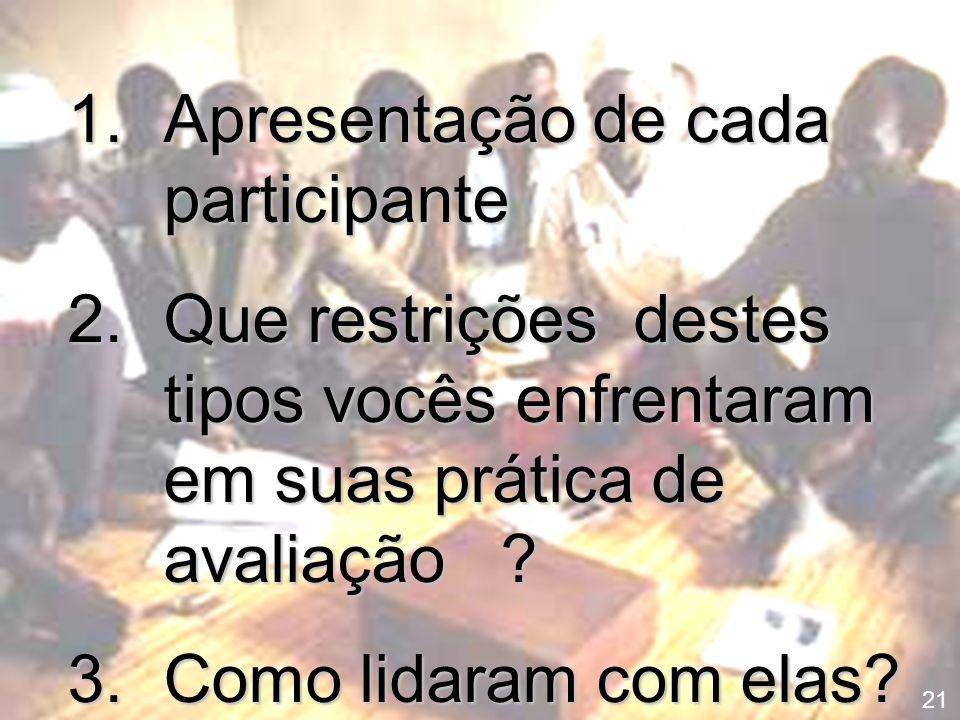 Apresentação de cada participante