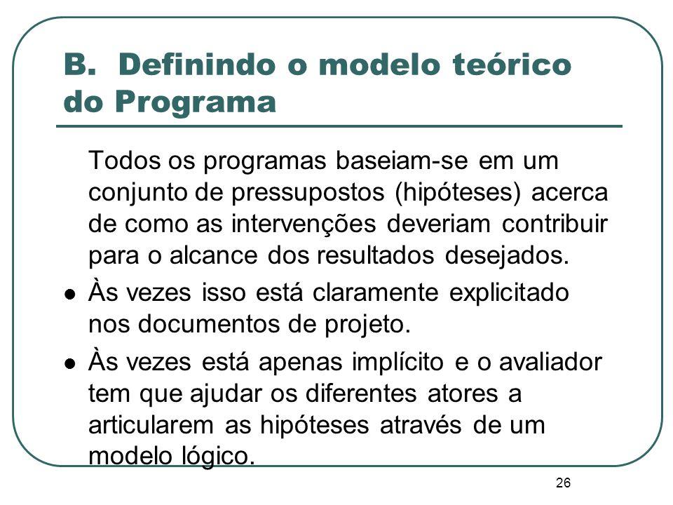 B. Definindo o modelo teórico do Programa