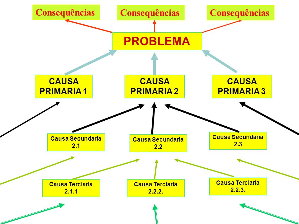 PROBLEMA Consequências Consequências Consequências CAUSA PRIMARIA 1