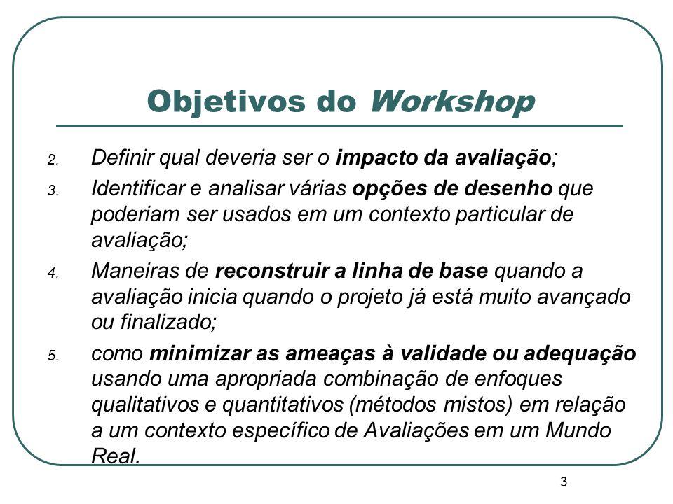 Objetivos do Workshop Definir qual deveria ser o impacto da avaliação;