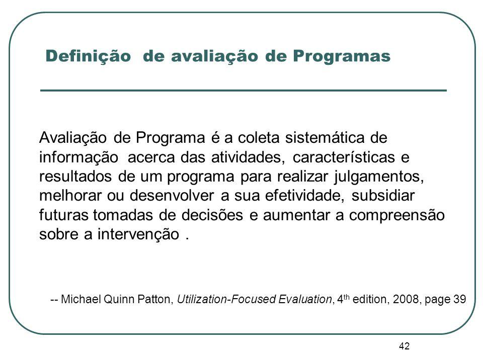 Definição de avaliação de Programas