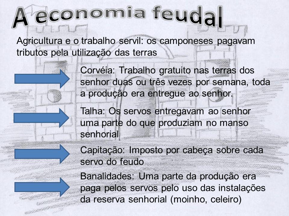 A economia feudal Agricultura e o trabalho servil: os camponeses pagavam tributos pela utilização das terras.