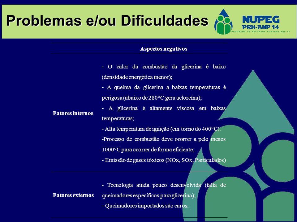 Problemas e/ou Dificuldades