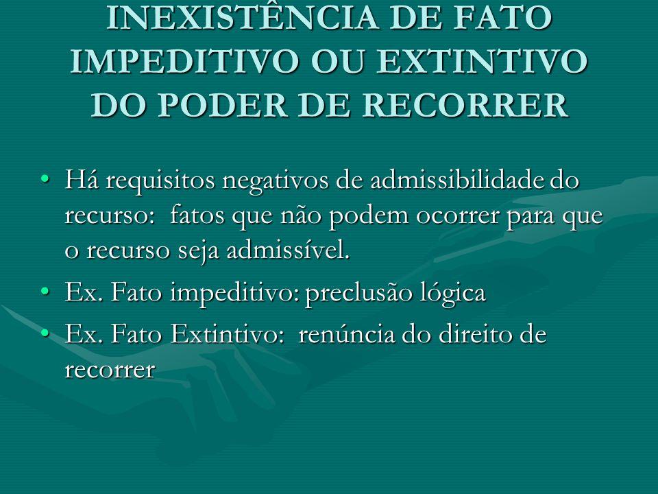 INEXISTÊNCIA DE FATO IMPEDITIVO OU EXTINTIVO DO PODER DE RECORRER