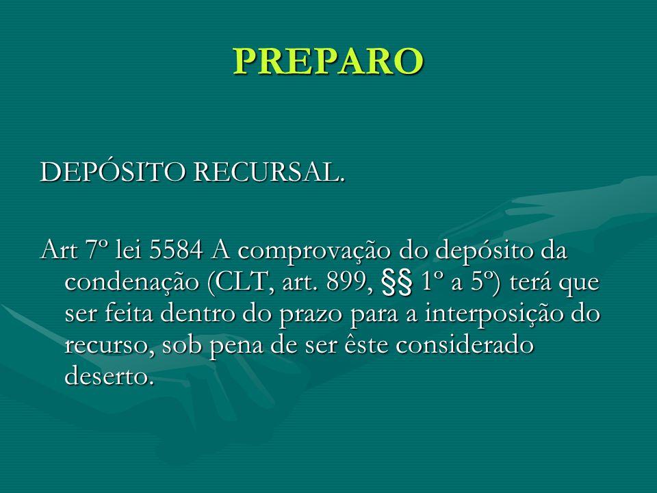 PREPARO DEPÓSITO RECURSAL.