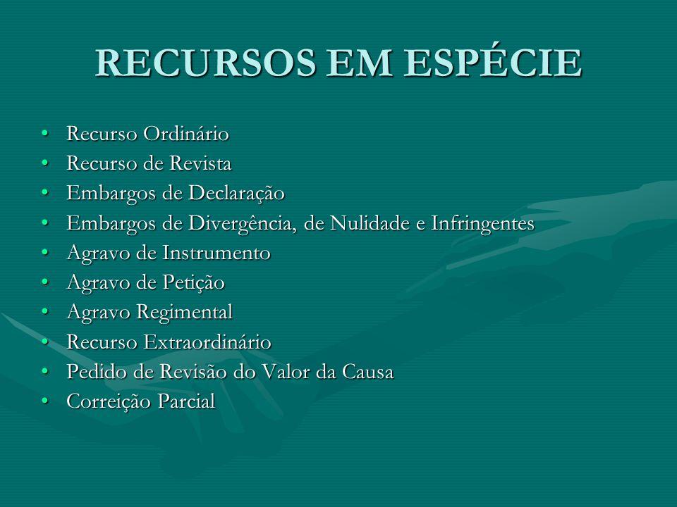 RECURSOS EM ESPÉCIE Recurso Ordinário Recurso de Revista