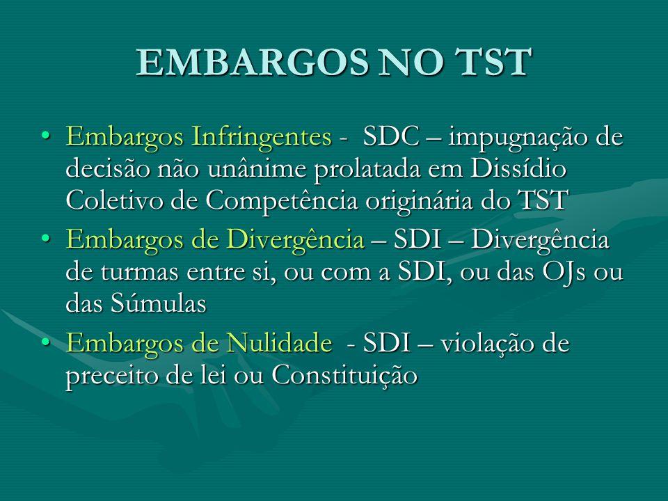 EMBARGOS NO TST Embargos Infringentes - SDC – impugnação de decisão não unânime prolatada em Dissídio Coletivo de Competência originária do TST.
