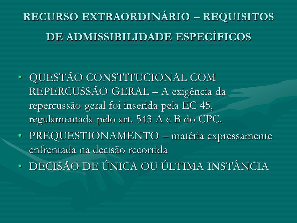 RECURSO EXTRAORDINÁRIO – REQUISITOS DE ADMISSIBILIDADE ESPECÍFICOS