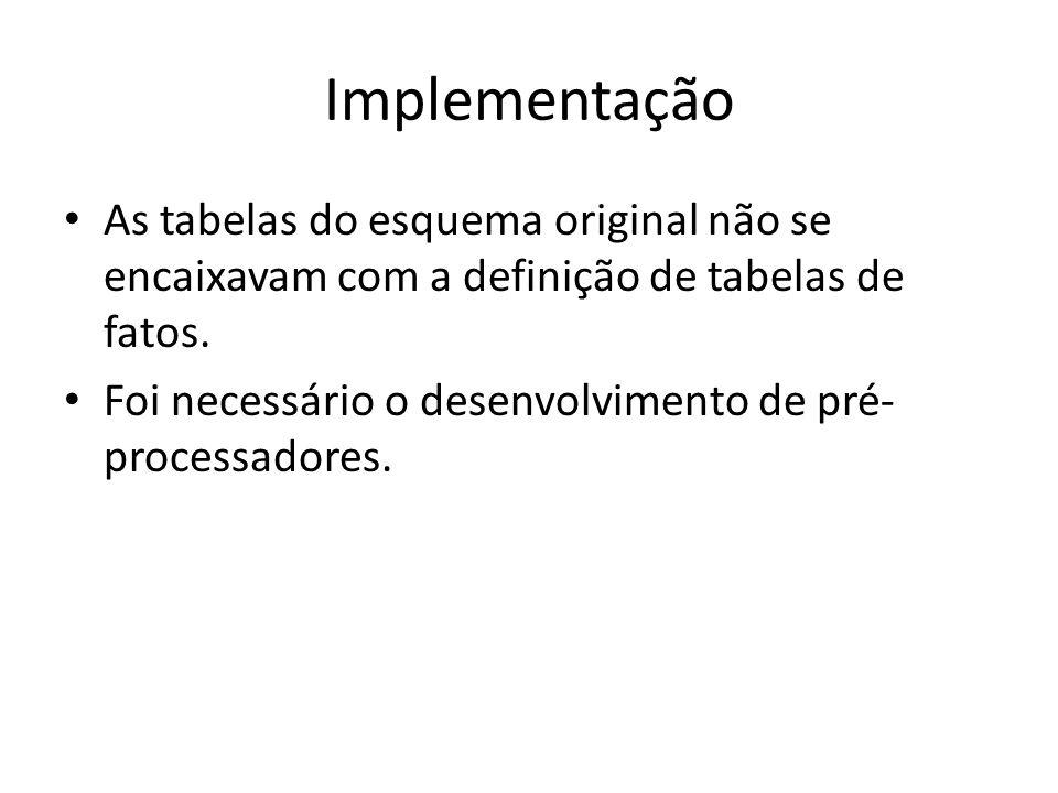 Implementação As tabelas do esquema original não se encaixavam com a definição de tabelas de fatos.