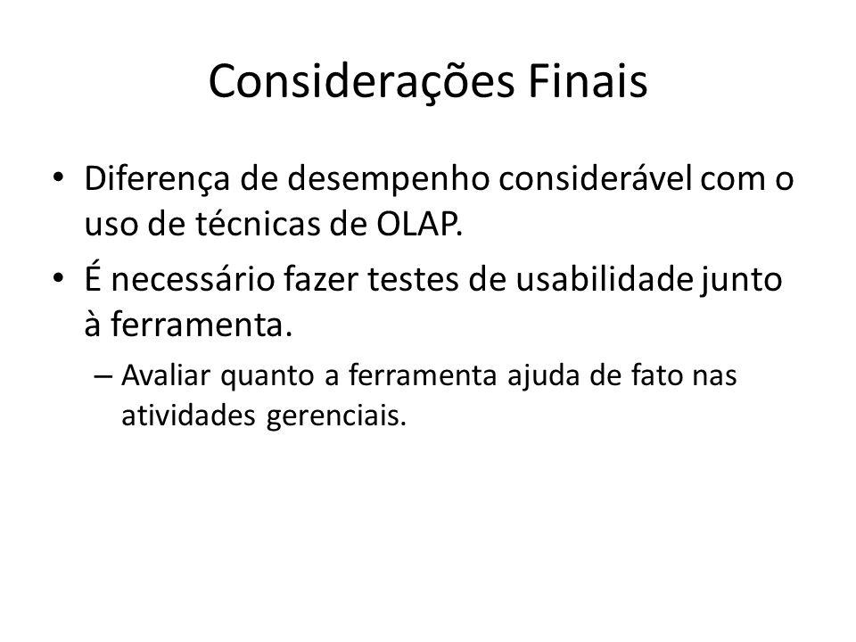 Considerações Finais Diferença de desempenho considerável com o uso de técnicas de OLAP.