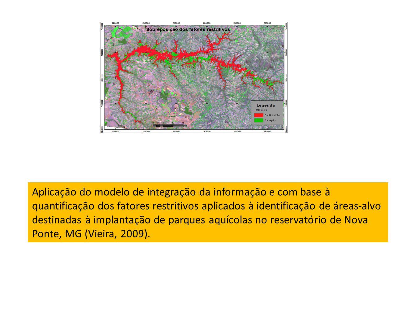 Aplicação do modelo de integração da informação e com base à quantificação dos fatores restritivos aplicados à identificação de áreas-alvo destinadas à implantação de parques aquícolas no reservatório de Nova Ponte, MG (Vieira, 2009).