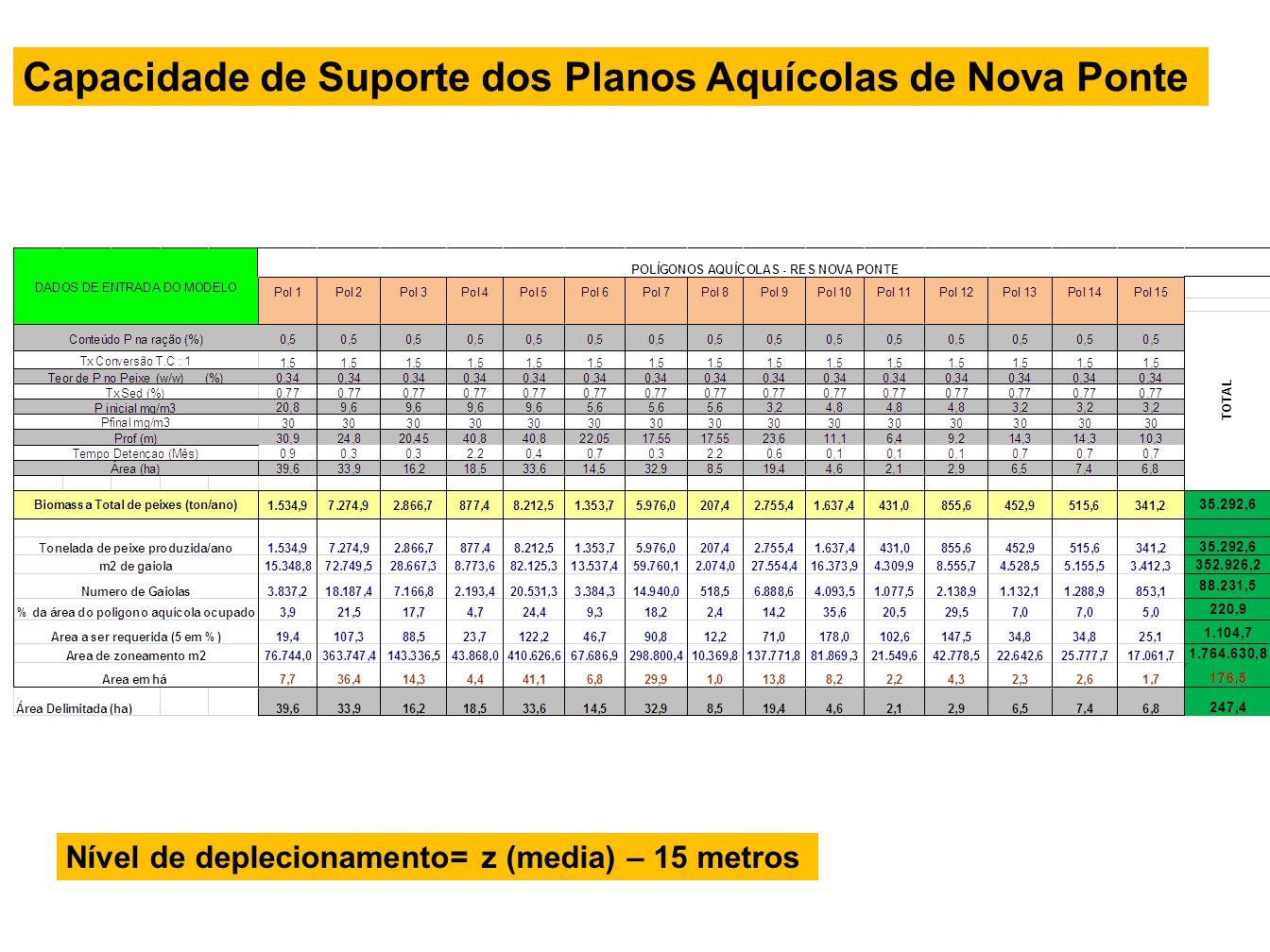 Capacidade de Suporte dos Planos Aquícolas de Nova Ponte